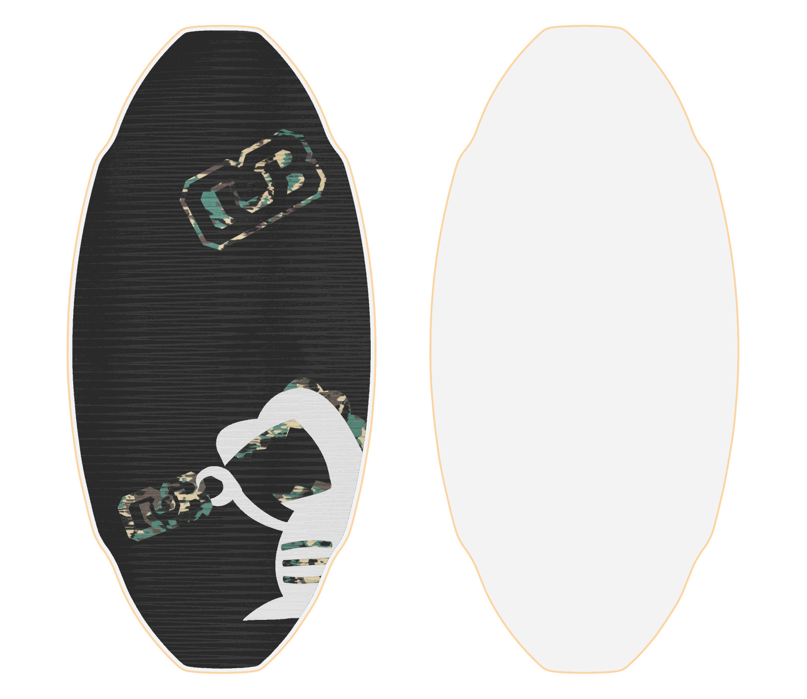 skimboard template - custom proto medium db skimboard flex flexy with white