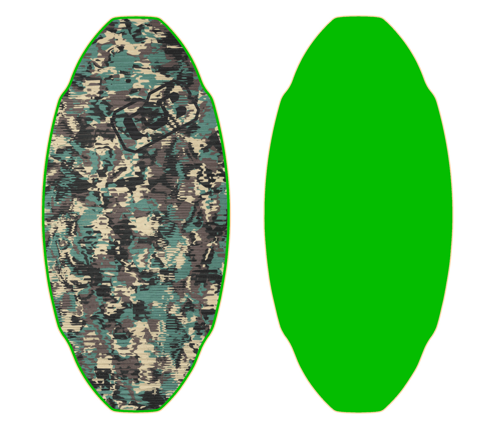 Custom proto medium db skimboard flex stiff with green for Skimboard template